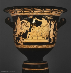 Apulian Red Figure Krater attributed to the Eumenides Painter.