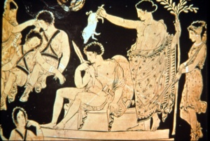 Orestes (seated) being purfied by Apollo while the shade of his dead mother tries to wake the Furies to avenge her.