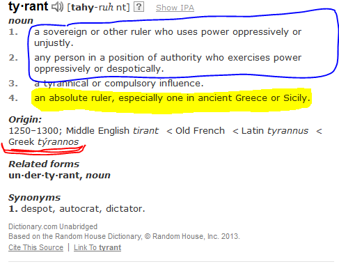 dictionary.com entry for TYRANT