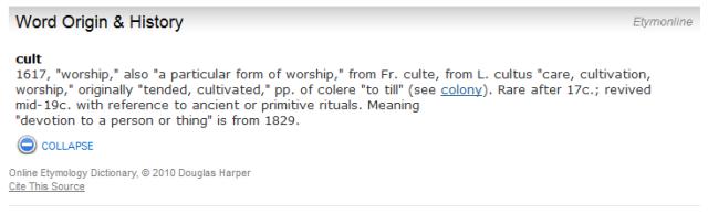 """dictionary.com etymology for """"cult"""""""