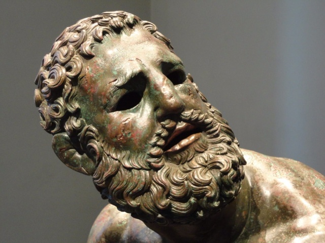 "Detail of Head (image is flipped for comparison) ""Boxer at Rest"" Museo Nazionale Romano - Palazzo Massimo alle Terme, inv. 1055.  Lent to the Metropolitan Museum of Art by the Republic of Italy, 2013"