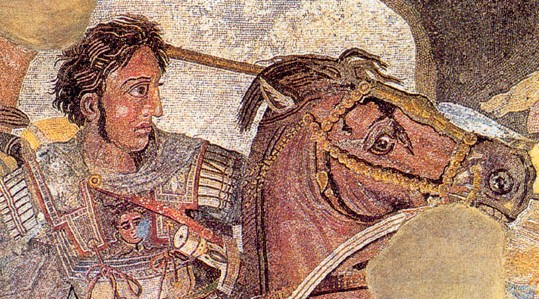 """Alexander Mosaic"" from Pompeii Even his horse has flowing wavy locks... Source:  Wikimedia"