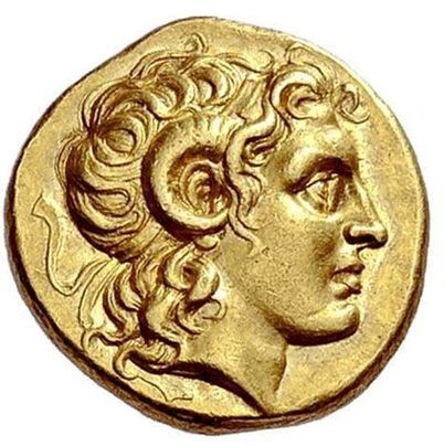 Macedonia coin of Alexander as Ammon *note the nape curls everyone! Source:  Wikimedia