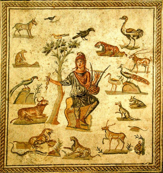 Orpheus soothes the wild beasts from  Museo archeologico regionale di Palermo Source: Wikimedia Commons