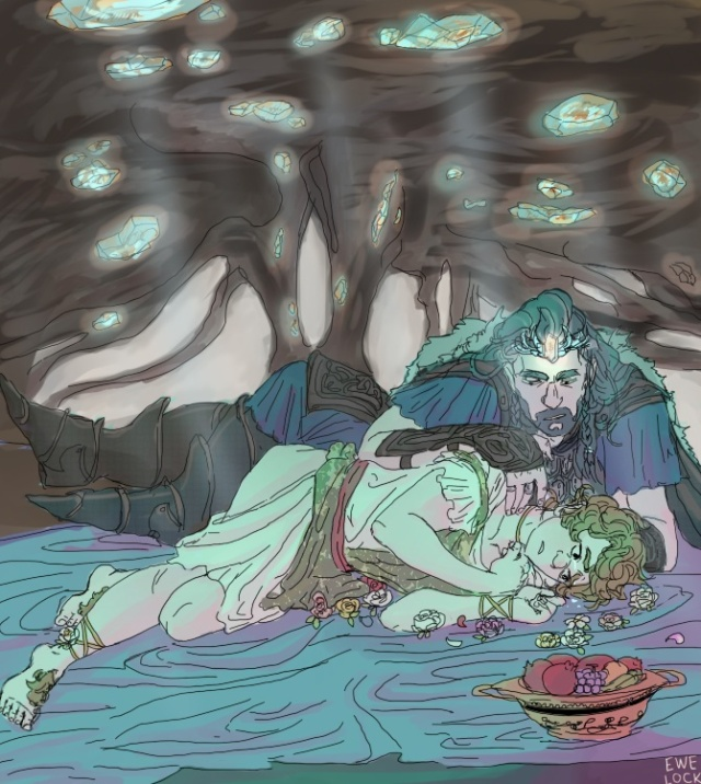 Thorin and Bilbo as Hades and Persephone  By Ewelock at Deviant Art