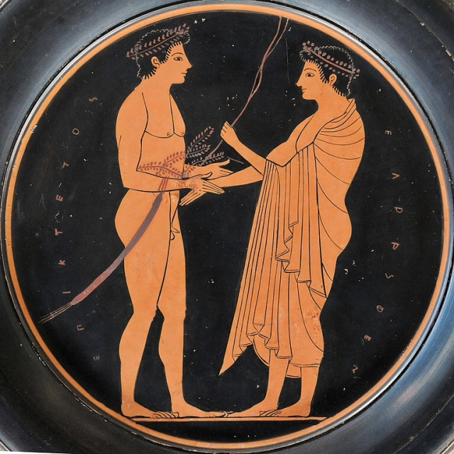 A victor receiving awards. (the inscription on the piece is actually the signature of the painter...Epiktetos) Source: Wikimedia Commons