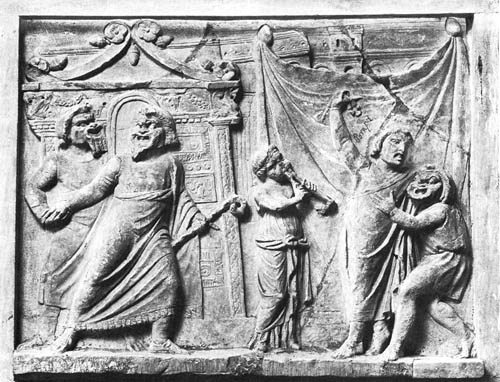 Sculptural frieze of theatrical masked actors, also from Pompeii