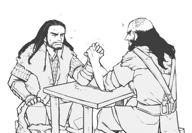 Thorin and Dwalin arm wrestling....FANtastic headcanon!! Source: