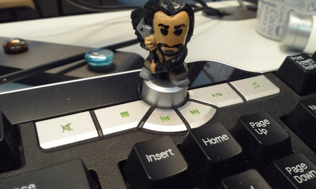 Chibi Thorin has been perched on the keyboard to ward off encroachers.
