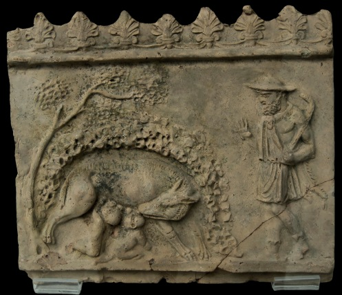 Faustulus finds the she-wolf with the twins Romulus and Remus. Decorative relief, so-called Campana plaque. Clay. 2nd century CE. Inv. No. 8489. Berlin, State Museums, Pergamon Museum.